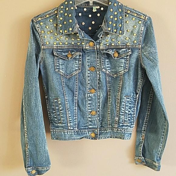 519dfd72636 36 Point 5 Jackets & Coats   Gold Studs Denim Jacket Size Medium ...